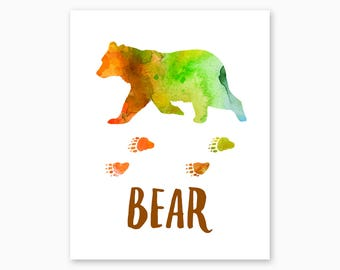 BEAR POSTER, Bear Printable, Instant Download, Bear Wall Art, Watercolor, Rustic Home Decor, Rustic Nursery, Housewarming Gift, Cabin Decor