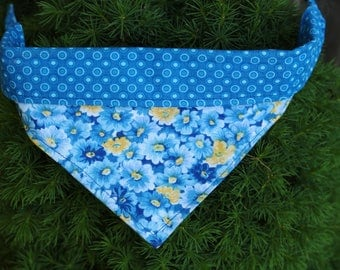 Blue and yellow floral print reversible dog bandana