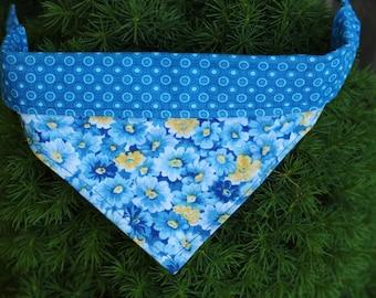 Blue and yellow floral print reversible dog bandana