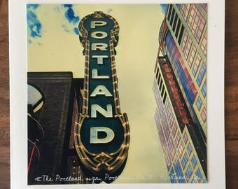 Portland Sign Notecard with Envelope, Blank Inside