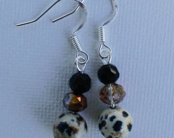 Dalmation, Black, and Brown Dangle Earrings