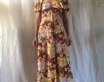 Vintage 1970s brown floral midi dress