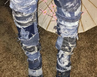 Hand crafted, fashionable denim thigh high boots, size 10 1/2