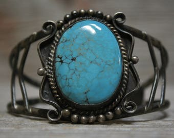 Exceptional Old Pawn Native American Sterling Silver Turquoise Cuff Bracelet