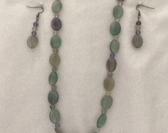 Florite set  18 inch necklace with earrings