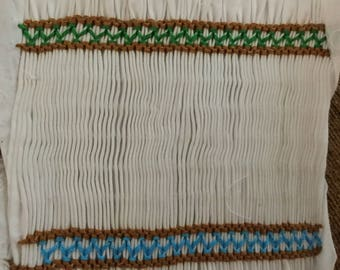 """Ready to smock pleated insert completely backsmocked for you this has Turquoise ,green and brown borders 5x4"""""""