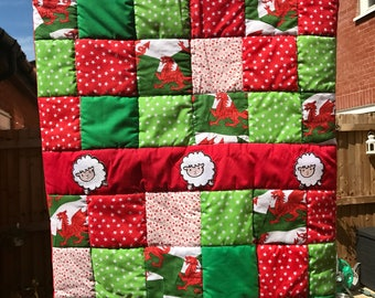 I Love Wales Handmade Patchwork Baby Quilt