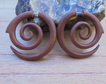 Fake Gauge Earrings, Spiral Fake Earrings, Wood Fake Earrings, Wooden Accessories, Bali Jewelry, Saba 05