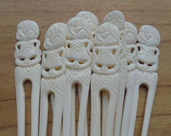 Bone Hair Sticks, Hair Pin, Tiki Hair Fork, 2 Prongs Hair Accessories HS85