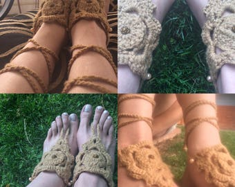 Barefoot Sandals, FREE SHIPPING, Rose Bead Barefoot Sandals, Hippie Shoes, Crochet Barefoot Sandals