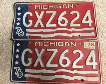 Pair of 1976 Michigan License Plates