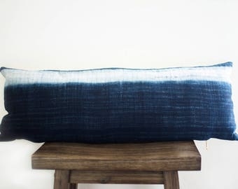 Extra Long Hmong Hemp Indigo Lumbar/White/ Hill Tribe/ Lumbar/ Hmong Pillow/ Handmade/ Authentic/ Vintage/ Bohemian Pillow/ Modern/Minimal