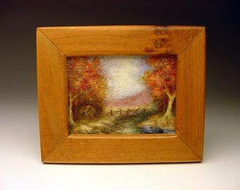 Stunning Vintage miniature Western Painting in the manner of Fitch Wray number 1 of 2