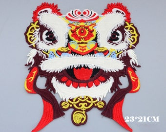 Male Lion Dancing Patch, Crown Embroidery Design,Lion Embroidery Applique,Lion Embroidery  Pattern,Embellishment, Lion Embroidered Patch,