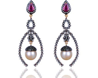Diamond Earring with Ruby & Pearl