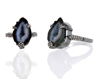 Diamond Ring with Geode Ring
