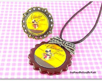 Chocolate cookie mouse Chocolate ring and necklace set
