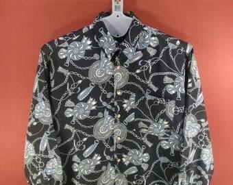 Vintage Fleet Flag Long Sleeve Shirt Baroque Fullprint Black Colour Size L Designer Comme des Garcon Yohji Yamamoto Shirt Abstract Picasso
