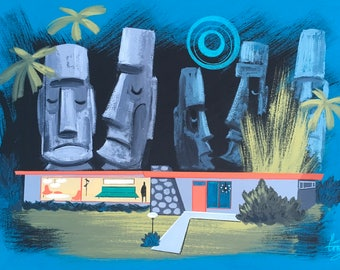El Gato Gomez Mid Century Modern Tiki Bar Moai Art Print