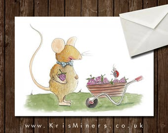 Whimsical Mouse and Ladybird Greetings Card - Berry Cart