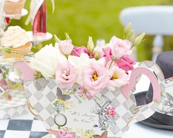 Alice in Wonderland Centrepiece, Tea Party Decor, Vintage Tea Party, Bachelorette Tea Party, Baby Shower Tea Party, Teapot Vase, Truly Alice