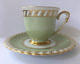 Franconia K&A Krautheim German Footed Demitasse Tea Cup and Saucer- Celadon Green and Gold Art Deco Pattern- c. 1960- FREE SHIPPING