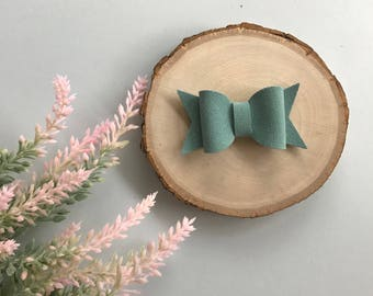 Baby Blue Suede Bow, Suede Bow, Chunky Bow