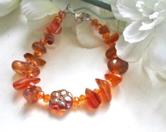 ORANGE aventurine and Crystal stones bracelet