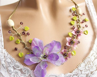 Necklace purple floral branch beads