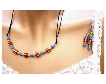 Red/green/blue abstract colorful jewelry set
