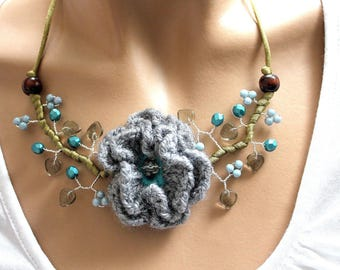 Grey and Blue Flower necklace crochet