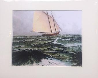 Stormy seas print, Schooner print, giclee