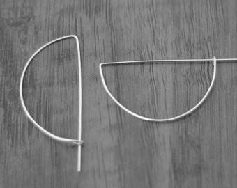 Sterling Silver Geometric Half Hoop Earrings