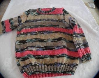Multicolored sweater neckline round size 6 years