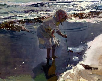 Buscando Mariscos, Playa De Valencia Painting by Joaquín Sorolla Art Reproduction