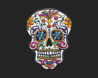 Sugar skull patch face patch Rock and roll patch embroidered patch iron on patch bag patch hat patch gift