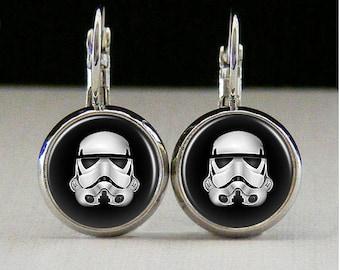 Stormtrooper Glass bezel earrings star wars earrings stormtrooper jewelry star wars gift custom photo earrings photo jewelry glass jewelry