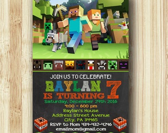 Mine Themed Invitation / Mine Themed Birthday / Mine Themed Birthday Invitation / Mine Themed Party / Mine Themed Printable - NR121