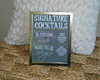 Custom Wedding or Bridal Shower Signature Drink Sign, Digital File