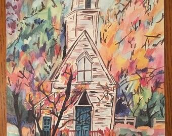 Watercolor Church Print