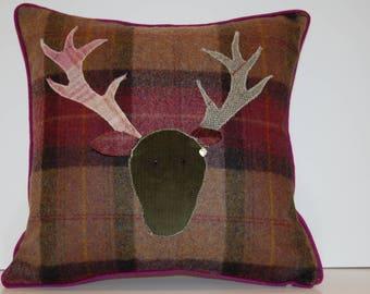 Deer tartan cushion,pillow,handmade