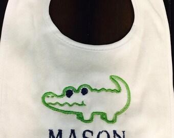 Gator with name burp cloth onesie bib tshirt