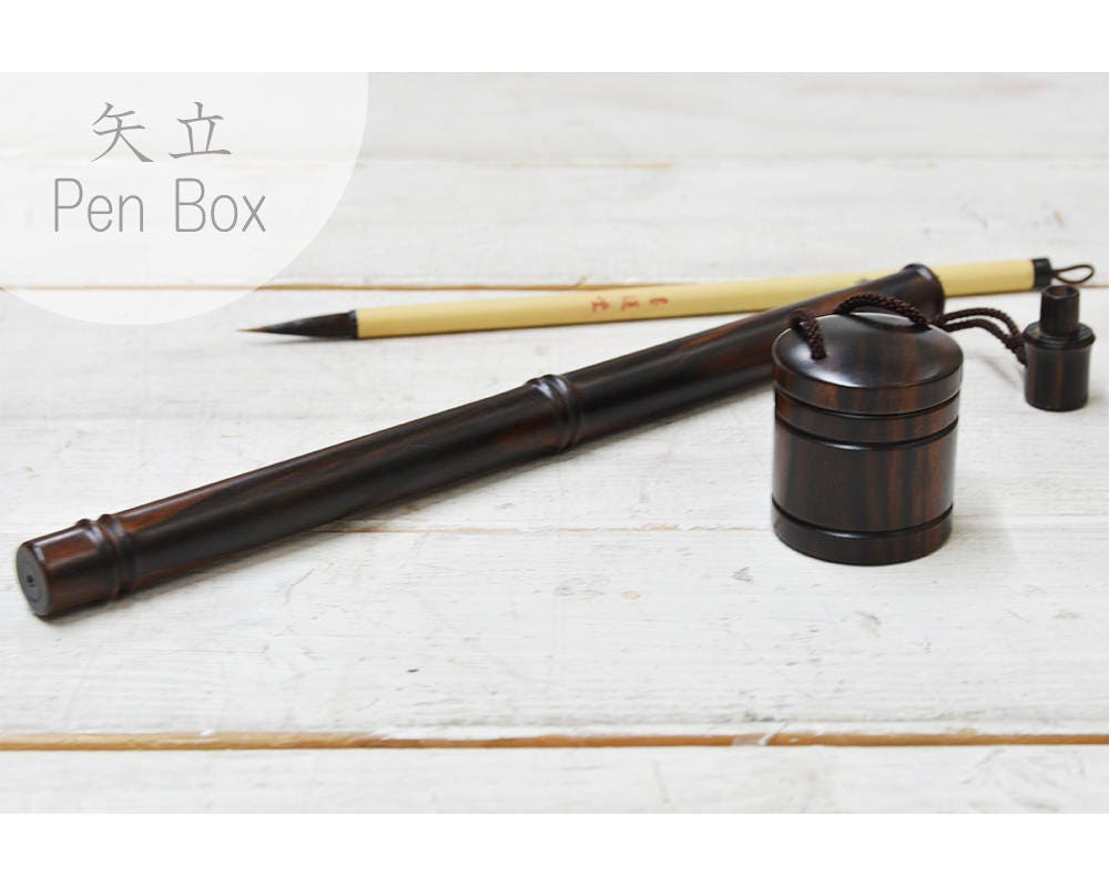 Japanese Portable Writing Set Yatate Wood Brush And Ink