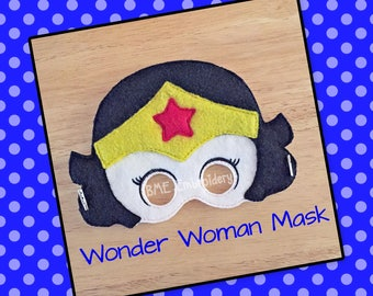 Wonder Woman Inspired Felt Mask- Child's Dress Up and Imaginary Play- Birthday Party Favor-Photo Shoot-Pretend Play-Theme Party-Super Hero