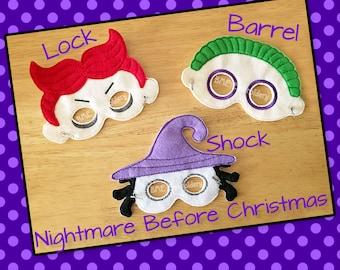Nightmare Before Christmas  Inspired Felt Masks-Lock-Shock-Barrel-Child's Dress Up Imaginary Play- Birthday Party Favor-Photo Shoot