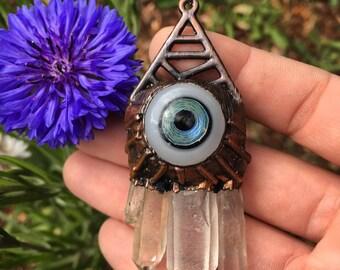 Electroformed Quartz Crystal Boro Glass Eye Pendant