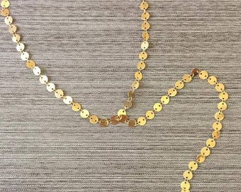 Gold / Silver Sequined Pendant Choker Lariat Necklace