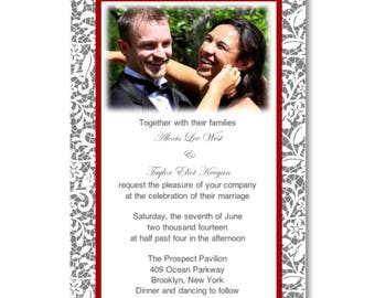 Red - Lace Style Invitation