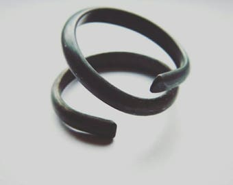 Twist. Black oxidized silver ring, unusually shaped