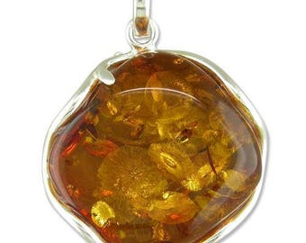 Large Wavy-Sided Cognac Amber Sterling Silver Pendant